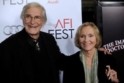 "FILE - In this Nov. 2, 2009, file photo, Martin Landau, left, and Eva Marie Saint, who were fellow cast members in Alfred Hitchcock's 1959 film ""North by Northwest,"" pose together at the premiere of the film ""The Imaginarium of Dr. Parnassus"" at AFI Fest 2009 in Los Angeles. Landau died Saturday, July 15, 2017, of unexpected complications during a short stay at UCLA Medical Center, his publicist Dick Guttman said. He was 89. (AP Photo/Chris Pizzello, File)"