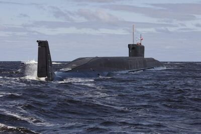 A new Russian nuclear submarine, Yuri Dolgoruky, is seen during sea trials near Arkhangelsk, Russia. The submarine was commissioned by the Russian Navy on Thursday, Jan. 10, 2013.
