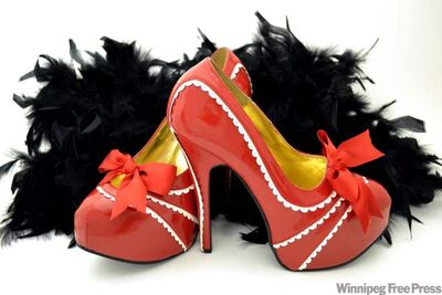 Red and White Bordello Concealed platform shoes, Foxy Shoppe