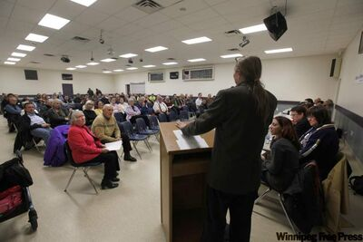 Candidates for the St. Vital byelection speak at a forum Wednesday night at Norberry Community Centre.