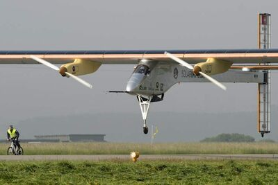 The Solar Impulse, with company CEO and pilot Andre Borschberg at the controls, takes off for its first intercontinental flight to Morocco at the airbase in Payerne, Switzerland, last May 24. Plans are to fly it coast to coast in the U.S. this May.