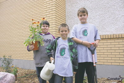 (From left): Grade 6 Polson School students and Green Club members Jordan Pilgrim, Braden Tymchuk, and Mason Pearson.
