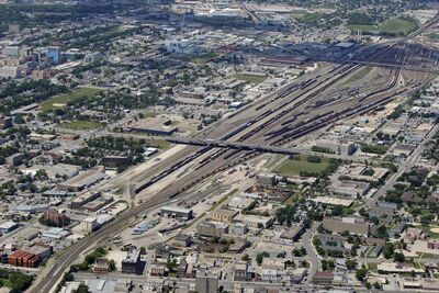An aerial view of the CP Rail yards
