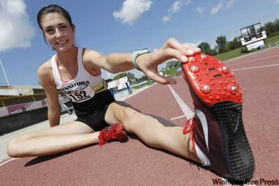 Winnipeg's Julie Zrinyi is limbering up for the 1,500 metres at the Legion Nationals in Ottawa next month.