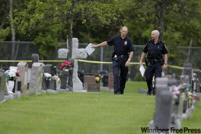 Officers had the entire St. Boniface Cemetery closed off yesterday after a body was found early Saturday.
