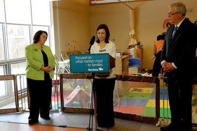 Minister of Family Services & Labour Jennifer Howard and Premier Greg Selinger join Vivian Galletta-Kern, a local parent, at Morrow Avenue Child-Care Centre to announce up to 1,000 new spaces in 26 new and expanded child-care centres over the next year.