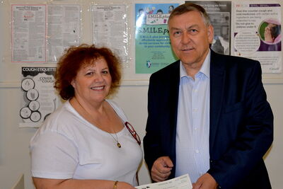 Elmwood MLA Jim Maloway with director of Munroe Early Childhood Education Centre Silvana Passante-Cantafio.