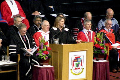 Southdale MLA Erin Selby speaks during the University of Winnipeg's spring 2012 convocation.