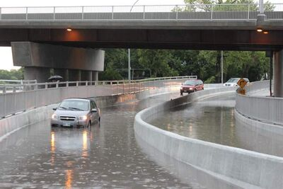 A thunderstorm Sunday morning deluged the city of Winnipeg and an area of southern Manitoba extending from Elm Creek to Milner Ridge. The rainfall caused several traffic lights to malfunction in Winnipeg and flooded the Disreali underpass.