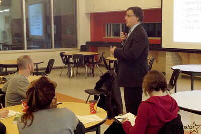 Seven Oaks School Division superintendent Brian O'Leary makes a presentation on the division's 2013-14 budget at Garden City Collegiate Feb. 25. The division is raising taxes for the year, though it promises to push for more provincial equity funding.