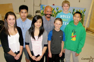 Gerry Bohemier with members of the cast of his 37th and final  theatrical production, The Wizard of Oz, which Edmund Partridge  Community School will stage later this month. Back row, l-r:  James Jugo, Bohemier, and Elias Loepp. Front row: Serena Desousa,Camyl Camuyong, Jayden Pikel and Renz Dizon.