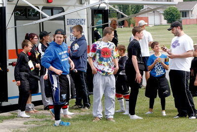 Players participating in the Rick Heinz summer hockey camp for goaltenders were checked out in the  M.I.R.V. unit by paramedics after an ammonia leak at the Gateway Recreation Centre Friday morning forced an evacuation.