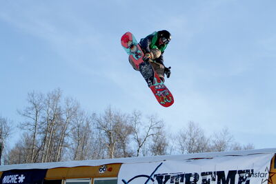 Brendan Luff catches some air during the Rail Wars event at Asessippi Ski Area & Resort.