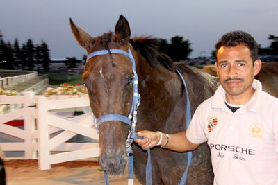 Unbridled Thoughts, never worse than second at the Downs, with groom Gerardo Moran.
