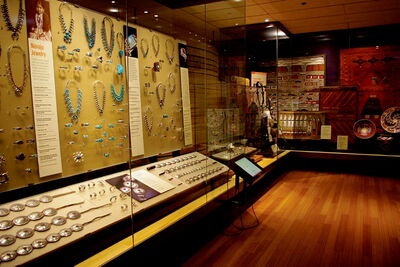 A display of Navajo jewelry at the Heard Museum in Phoenix, Ariz.