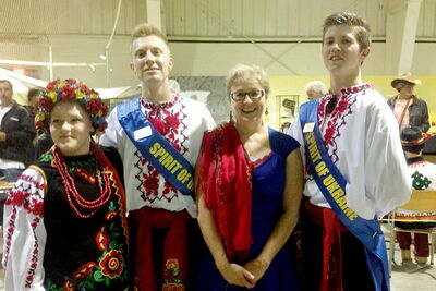 From left to right: Tiffany Corby, Dustin Hradowy, Melanie Wight and Cody  Hrytsay at the Ukrainian pavilion.