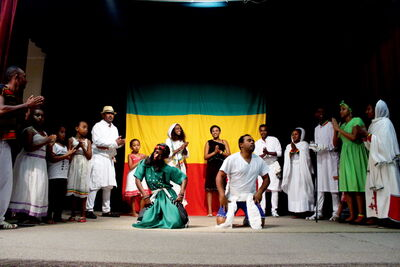 Visitors to the Ethiopia pavilion had an opportunity to indulge in traditional Ethiopian food and learn about the country's culture while being entertained by music and performances on stage.