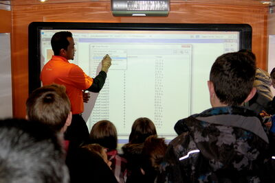 Students at Linden Meadows School were shown a glimpse of the future when a mobile classroom was brought in by UK-based firm Promethean. Among the devices on display was an interactive whiteboard.