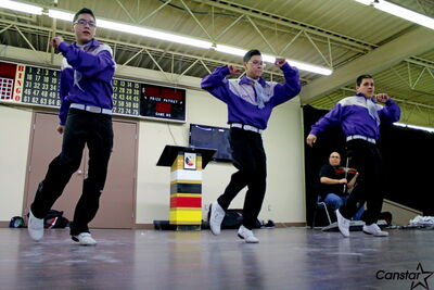 Jigging troupe Sagkeeng's Finest performs at the North End Youth Forum Thurs., March 21.