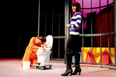 Tracey Nepinak (left) and Shannon Guile rehearse a scene from the upcoming play Jail Baby.