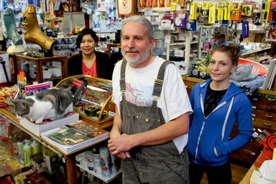 Pollock's Hardware store manager Mike Wolchock, with employees Chantelle Ranville (left) and Katie Slessor. The North End hardware hub celebrates five years as a business co-operative on June 8.