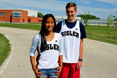 Sisler students Giselle Dela Merced and Michael Medal both hauled in two individual medals at this year's provincial high school track and field championship.