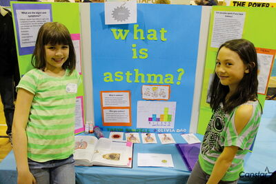 Friends Taryn Randell and Olivia Dao both wanted to learn more about asthma because Taryn has it. They earned a silver award for their project, which included coloured charts of the respiratory system.