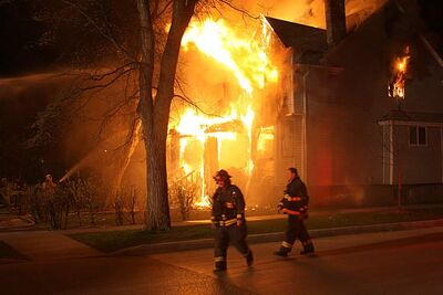 Fire destroyed house.