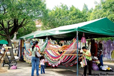 Made-in-Granada hammocks are a popular item in the central park market.