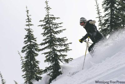 Louise Hudson skis Powder Cowboy at Fernie. Sunshine Mountain Lodge at Sunshine Village offers hotel stay-and-ski packages throughout the season and you're guaranteed first tracks.
