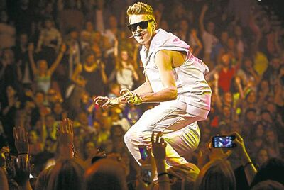 Justin Bieber performs at the Rose Garden in Portland, Ore.