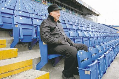 Wayne Glowacki / Winnipeg Free Press archives Longtime Bombers fan Tom Goodhand was among a handful of people in the stands Friday for the team's last practice at Canad Inns Stadium.