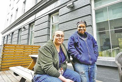 Tara May (left) and Pat Aylesworth, tenant-support workers at the Bell Hotel, were instrumental in recovering Sophie.