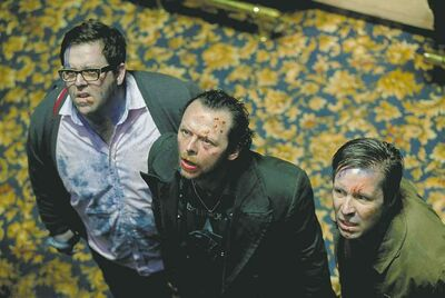 Nick Frost, from left,, Simon Pegg and Paddy Considine star in the film The World�s End. (Laurie Sparham/Focus Features/MCT)