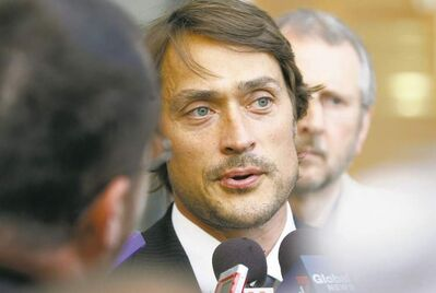 Teemu Selanne speaks with media at the funeral for Don Baizley at MTS Centre, Wednesday, July 10, 2013. (TREVOR HAGAN/WINNIPEG FREE PRESS)