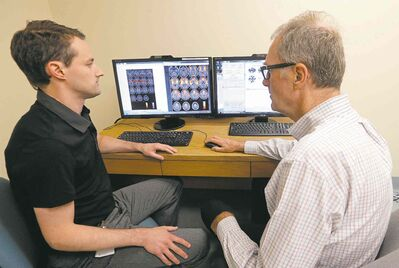KEN GIGLIOTTI / WINNIPEG FREE PRESSDr. Michael Ellis (left) and Dr. Alan Mutch are working on a new method to diagnose concussions.
