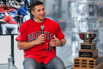 Winnipeg Goldeyes third baseman and playoff MVP Amos Ramon at the Free Press News Cafe with the American Association championship trophy on Tuesday.