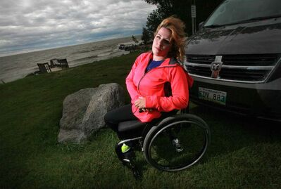 Janis Ollson could not access Victoria Beach with her vehicle to monitor her kids' swimming lessons. (Phil Hossack / Winnipeg Free Press)