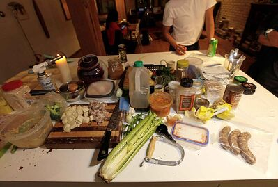Leftovers grace the counter as chef and artist Pepê Dayaw chats prior to whipping up a meal of leftovers Tuesday.