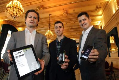 Justin Kathan (from left) and Brendon Sedo, co-founders of Joist, and Dustin Refvik, founder of Scheduleaide participate in the Manitoba VentureChallenge  at the Fort Garry Hotel Wednesday.