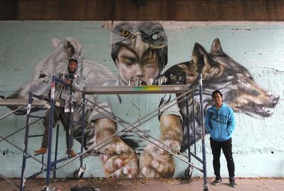 Nereo, 33 (left) and John Padua, 19, spray-painted the second part of the southwest underpass at The Forks, in conjunction with Synonym Art Consultation&rsquo;s Wall-to-Wall Mural + Cultural Festival happening this month. They completed the first section &mdash; inspired by the Manitoba flag &mdash; around Canada Day. (Jessica Botelho-Urbanski / Winnipeg Free Press)</p>
