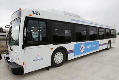 One of the buses that will ride the Southwest Rapid Transit Corridor which is currently being built. A fare hike of 25 cents is being considered as a way to pay for rapid transit.