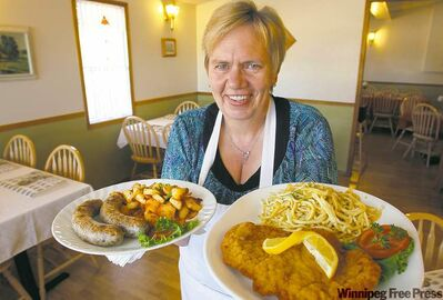 Oma's owner Gudrun Zimmermann makes sure customers don't leave the restaurant hungry.