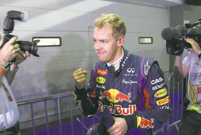 Dita Alangkara / the associated press Sebastian Vettel, a driver for Red Bull (one of the wealthier teams), is pleased to win the pole for today�s Singapore Formula One Grand Prix.