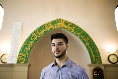 Adam Gilani, 20, stands in the prayer hall of the Islamic Foundation of Toronto mosque in Markham on Wednesday August 31, 2011. Adam who went to elementary school at the Islamic Foundation of Toronto , remembers being evacuated from the premises during the events of September 11, 2001. THE CANADIAN PRESS/Aaron Vincent Elkaim