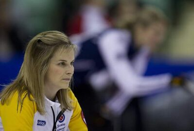 Manitoba skip Jennifer Jones watches a shot during a draw against New Brunswick at the Scotties Tournament of Hearts in Red Deer, Alberta, Saturday, Feb. 18, 2012.  THE CANADIAN PRESS/Jonathan Hayward