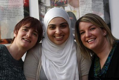 From left: ISSA office manager Irene McConachy, Seema Uddin, who began wearing a hijab in high school, and Elizabeth Beattie.