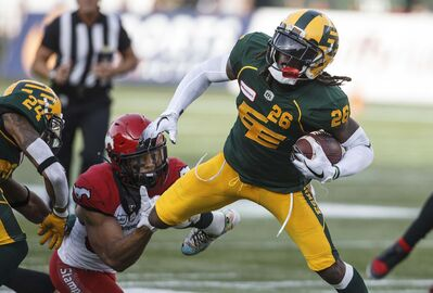 "<p>Former Edmonton Eskimos defensive back Josh Johnson, right, signed a one-year deal with the Blue Bombers on the opening day of CFL free agency.</p> <p>""></a><figcaption readability="
