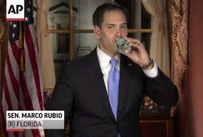 Florida Sen. Marco Rubio takes a sip of water during his Republican response to President Barack Obama's State of the Union address Tuesday.