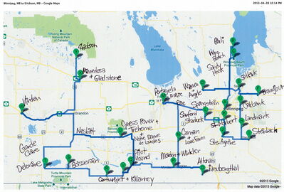 A map of communities Kalynn Spain will visit by the end of September during her five-month project to document Manitoba farms.
